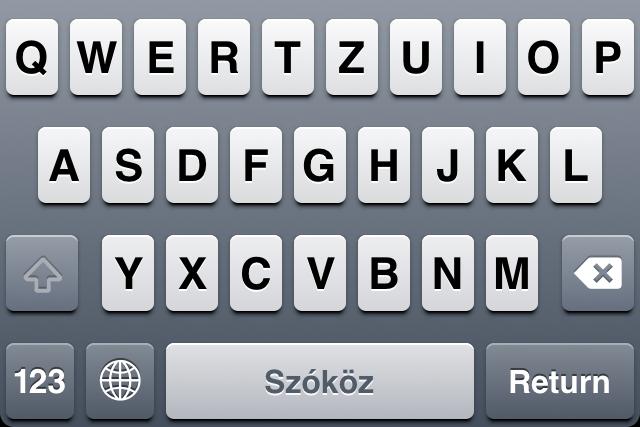iOS billentyűzet